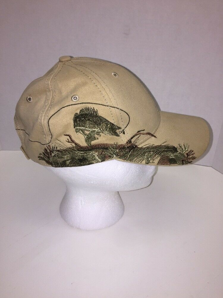 Dri Duck Traders Wildlife Series Fishing Embroidered Embroidered Fishing Cotton Tan Ball Cap Hat 6dd361