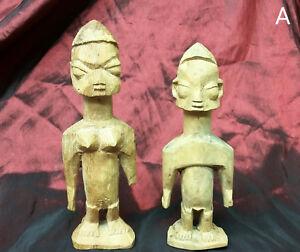 Pair-of-Antique-West-Africa-Carved-Wood-Wooden-Dolls-Statues-Effigies-Idols-Ewe