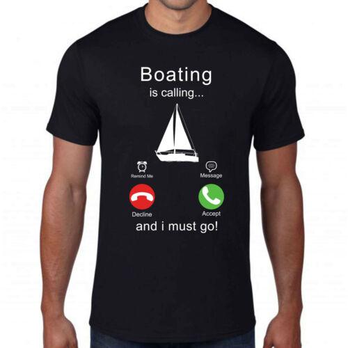 Boating appelle /& I Must Go T-shirt pêcheurs dans un bateau Attraper Des Poissons Océan