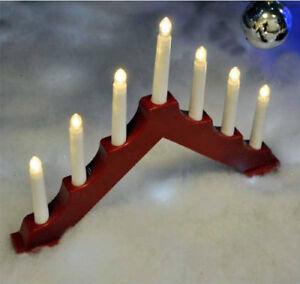 7-Lampadina-Rosso-CANDELA-BRIDGE-ARCH-FINESTRA-Decorazione-Natale-TABELLA-DECORAZIONE-DELLA-BATTERIA