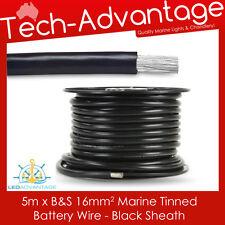 5M X B&S 16MM 110AMP MARINE TINNED COPPER WIRE - BATTERY/HEAVY DUTY - BLACK