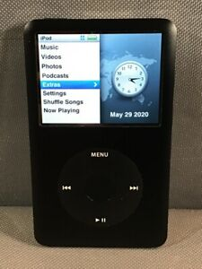 Apple-iPod-Model-A1238-Classic-6th-Gen-Black-Front-SS-Back-80GB-Engraved-Tested
