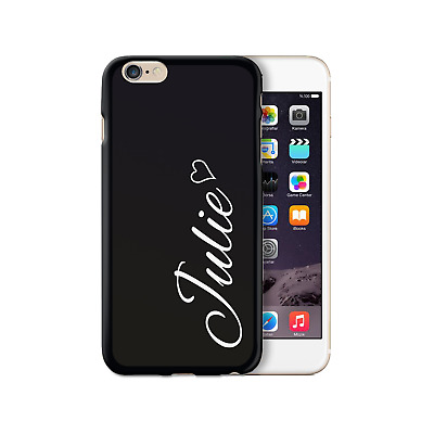 HAIRYWORM PERSONALISED WHITE SIDE NAME HEART ON BLACK SILICONE GEL PHONE CASE