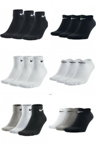 Nike 3 Pairs Mens Womens Ankle Quarter /& No Show Sports  Socks  Black White