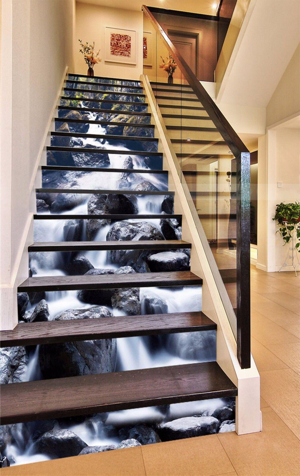 3D Stone Stream 734 Stair Risers Decoration Photo Mural Vinyl Decal Wallpaper AU