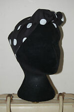 black large polka 40s land girl bow head scarf 50s pin up hair turban dolly bow