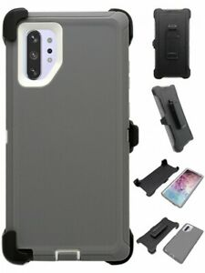 Gray-White-For-Samsung-Galaxy-Note-10-Plus-Defender-Case-w-Clip-fits-Otterbox