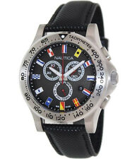 Nautica Men's BFD 101 Signal Flag Chronograph Black Dial Strap Watch N19595G