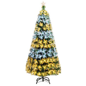7Ft-Pre-Lit-Fiber-Optic-Christmas-Tree-8-Flash-Modes-PVC-w-Double-Color-Lights