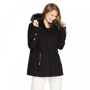 NWT-A-New-Day-Women-039-s-Wool-Duffel-Coat-with-Removable-Fur-Trim-Hood