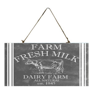 Black and White Farm Fresh Milk Printed Handmade Wood Sign