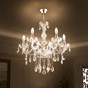 Elegant clear crystal chandelier pendant lighting 6 lights fixture image is loading elegant clear crystal chandelier pendant lighting 6 lights aloadofball Images