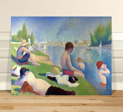 "Georges Seurat Bathers FINE ART CANVAS PRINT 24x18"" Classic Pointalism"