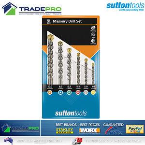 Genuine Sutton 6pc Masonry Drill Bit Tool Set With Case Concrete Tiles Bricks