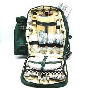 Blue Check Apollowalker Picnic Backpack for 2 Person Set Pack Lightweight for Outdoor Camping Portable Blue Check