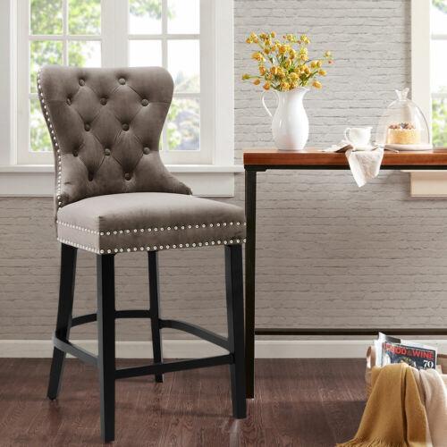1/2Pcs Brown Velvet Upholstered Bar Stools Button Back Breakfast Kitchen Chairs