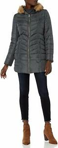 Hawke-amp-Co-Women-039-s-Mid-Length-Down-Coat-Charcoal-Large