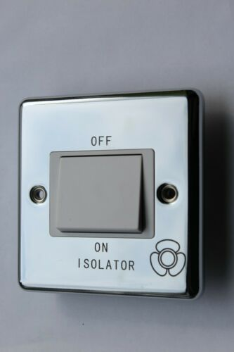 CP1518 Polished Chrome 10A 3 Pole Fan Isolator Switch White Ins Contractor