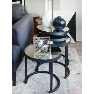 Remarkable Details About 3 Piece Round Nesting Coffee Table Black Squirreltailoven Fun Painted Chair Ideas Images Squirreltailovenorg