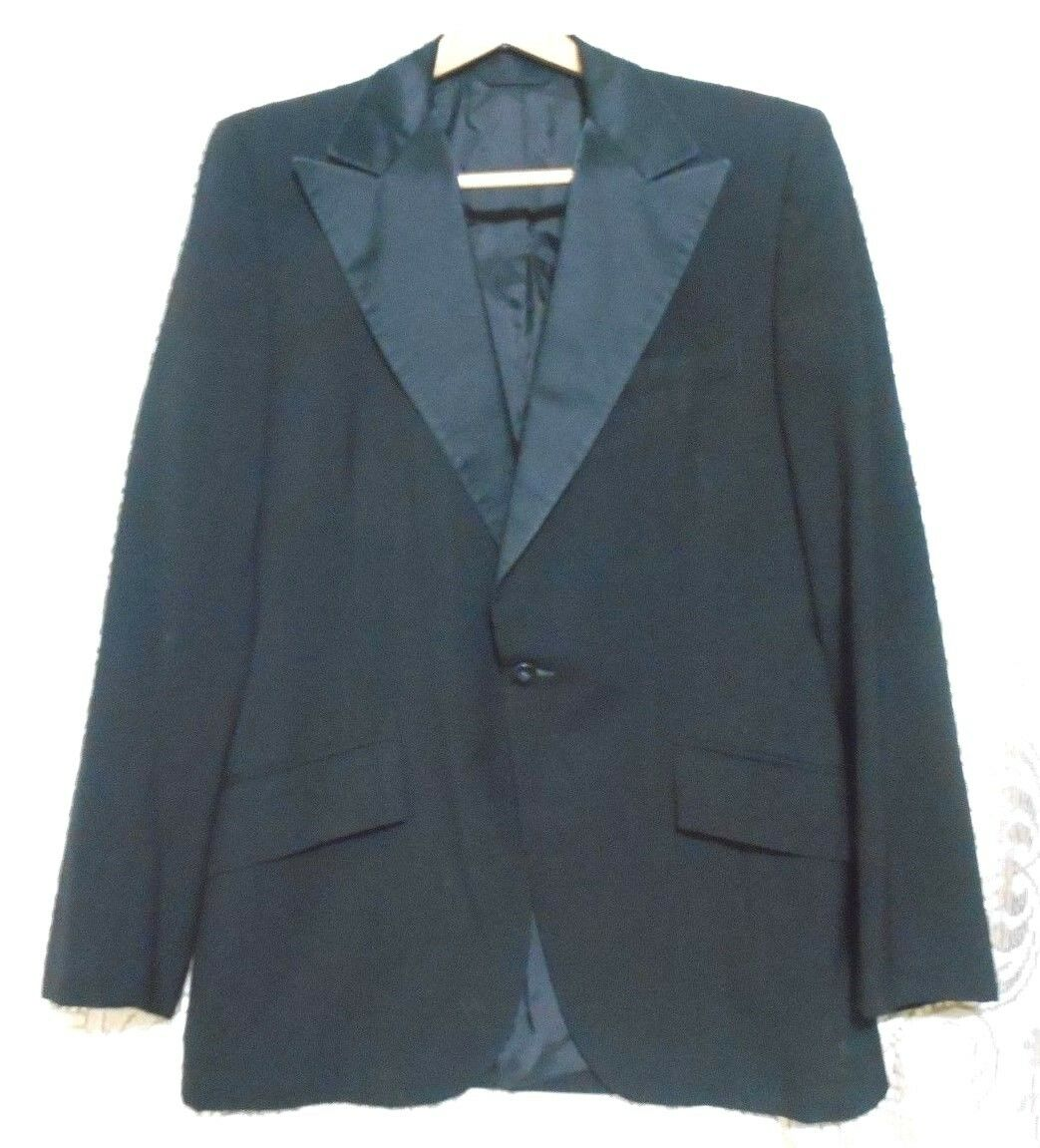 Vintage Black Tuxedo Formal Occasion One Button 38 Reg Jacket made in USA