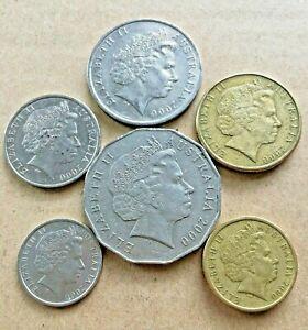 2000-Australian-2-1-50-Cent-20-Cent-10-Cent-5-Cent-Coin-Set-Of-6-FREE-Post