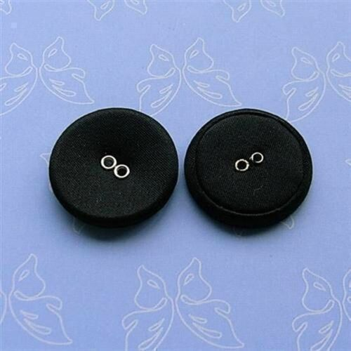 "12 Large Satin Fabric Cover Jacket Coat 2 Holes Buttons Black 25mm 1/"" 40L G17"