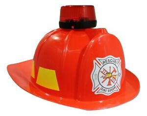 Kids Fire Chief Fireman Fighter Helmet Red Hat Costume Accessory