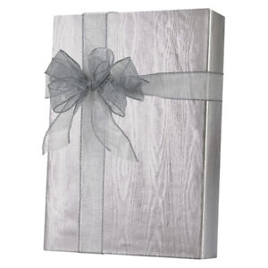 """/"""" METALIZED /"""" SILVER MOIRE FOIL GIFT WRAP ROLL IN A CUTTER BOX  E 9531."""