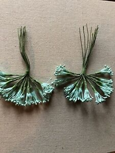 Vintage-Millinery-Flower-Light-Green-Stamen-24-Stem-Lot-Unused-Stock-HzS