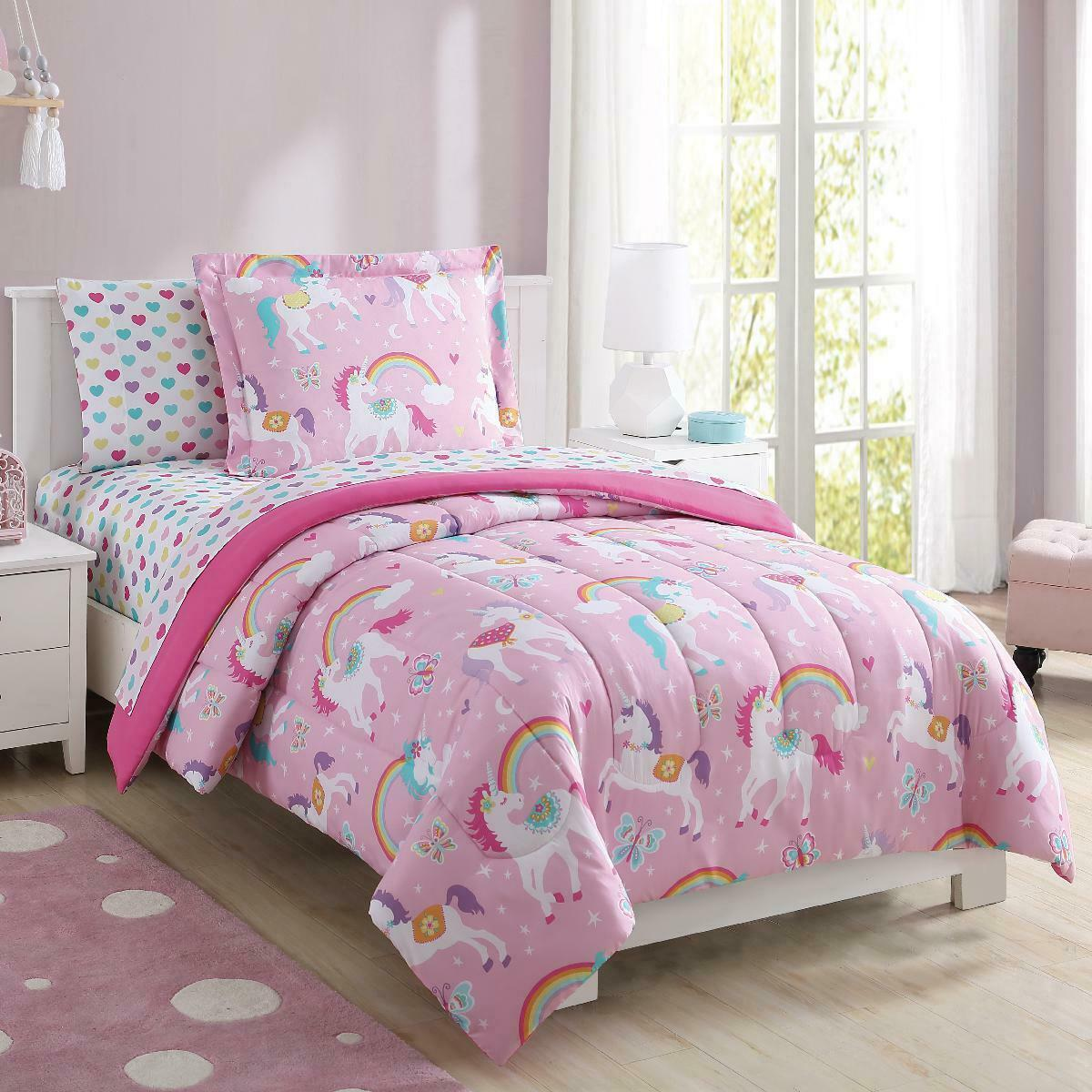 SDIII 3PC Unicorn Bedding Sheet Sets Twin Size Galaxy Bed Sheets with Flat Fitted Sheet for Boys Girls and Teens