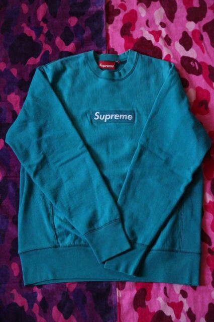 Supreme TEAL 🐬 BOX LOGO Crewneck Size Medium Hoodie Baby blue paris shibuya 🐳