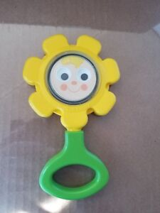 Vintage-1973-Fisher-Price-424-Yellow-Flower-Rattle-Baby-Toy-with-Mirror-7-5-034