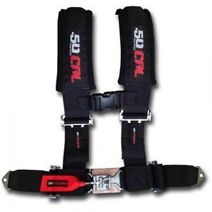 50 Caliber Racing Seat Belt Harness Black 2in 4 Point Polaris Ranger