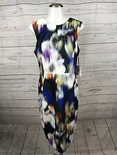 NWT CALVIN KLEIN Size 10 Blurred Floral Print Scuba Sheath dress w/back zipper