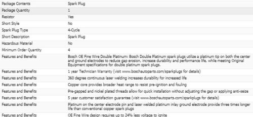 6 Bosch Double Platinum Spark Plugs For 2002-2004 CHRYSLER PACIFICA V6-3.5L