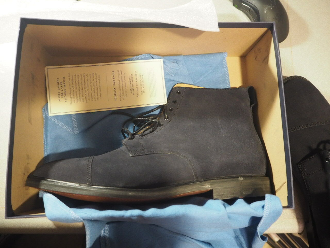 60caa25189f80 Alfred for J Crew bluee Suede 12 NEW in Box Retail 515 Boot Ssilver ...