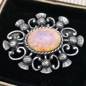 Vintage-CZECH-Milky-Pink-Gold-Fire-Glass-Opal-Scottish-Thistle-Celtic-Brooch-Pin