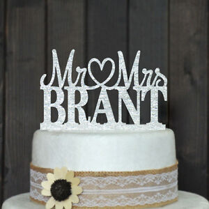 Custom-Wedding-Cake-Topper-Personalized-Acrylic-silver-glitter-Party-Decoration