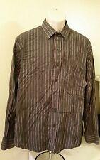 TASSO ELBA Grey, Red, Black Stripped Button Front Mens Shirt Top XL XLarge