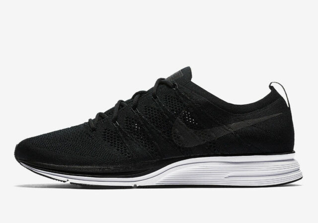 on feet images of detailing newest collection Mens Nike Flyknit Trainer Running Shoes Black White Grey Gray AH8396 007
