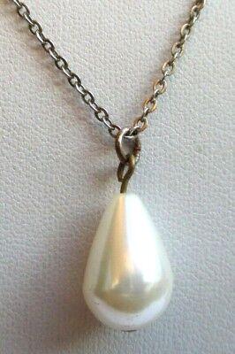 Sobre Collier Pendentif Chaîne Couleur Or Pale Perle Poire Bijou Vintage 4488 Promuovere La Salute E Curare Le Malattie