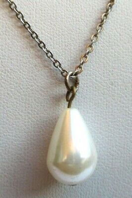 Sobre Collier Pendentif Chaîne Couleur Or Pale Perle Poire Bijou Vintage 4488 Sapore Puro E Delicato