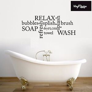 Bathroom Bathtub Splish Splash Quote Home Décor Wall Art Sticker Vinyl Transfer