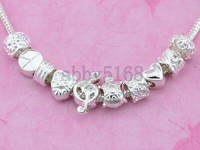 Wholesale 50 Lots Silver Tone Mixed Charms Beads Fit Bracelet NY05