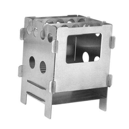 Stainless Steel Portable Mini Folding Wood Stove Backpacking Outdoor Camping
