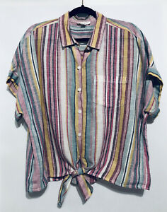 Beach Lunch Lounge Womens Large Rainbow Striped Tie-Waist Button Up Blouse