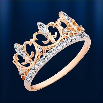 Tiara RING mit Zirkonia Russisches Gold Rose Rotgold 585 Neu ca 1.54g