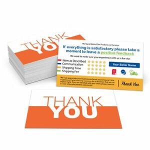 500 Custom Printed Ebay Etsy Seller Id Thank You Cards W Your User Id Orange Ebay