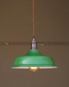 Vintage industrial enamel green pendant factory light hanging bar image is loading vintage industrial enamel green pendant factory light hanging mozeypictures Images
