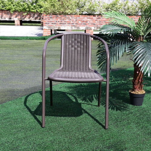 Brown Plastic Cushioned Chair Metal Frame For Coffee Table 4/6 pcs Outdoor